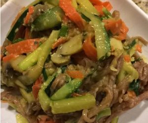Spicy Asian vegetables with Red rice noodles- by Tanya Goyette